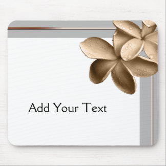 Pearled Grey and Champagne Gold Plumeria Mouse Pad