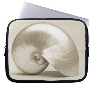 Pearlised nautilus sea shell laptop sleeve