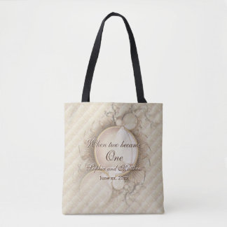 Pearls and Checks Wedding Tote Bag