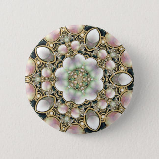 Pearls and Gold Kaleidoscope 6 Cm Round Badge