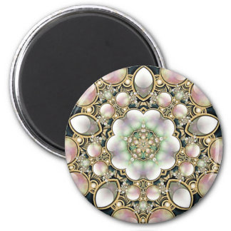 Pearls and Gold Kaleidoscope Magnet