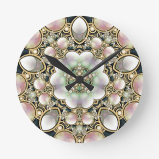 Pearls and Gold Kaleidoscope Round Clock