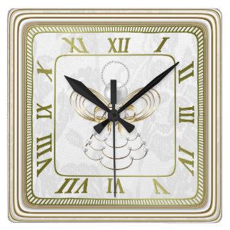 Pearls and Gold - Metallic Christmas Angel of Joy Clocks