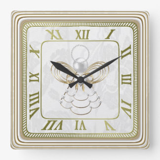 Pearls and Gold - Metallic Christmas Angel of Joy Square Wall Clock