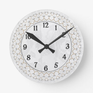 Pearls and Gold - Metallic Filigree on Lace Round Clock