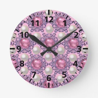 Pearls and Jewels in Pink Round Clock