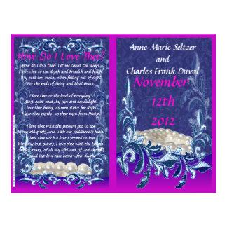 Pearls and Lace Bi-fold Wedding Program Flyers