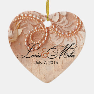 Pearls and Lace Photo | perfect peach Ceramic Heart Decoration