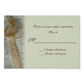 Pearls and Lace RSVP Card 9 Cm X 13 Cm Invitation Card
