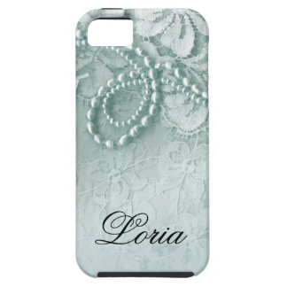 Pearls and Lace Signature | caspian blue iPhone 5 Covers