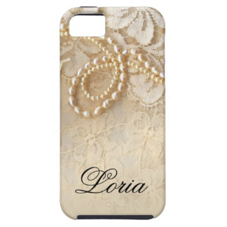 Pearls and Lace Signature | eggshell iPhone 5 Case