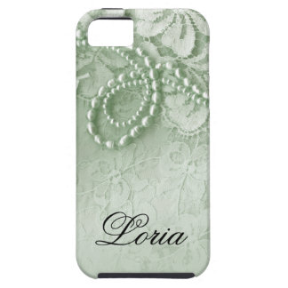 Pearls and Lace Signature | mint green iPhone 5 Covers