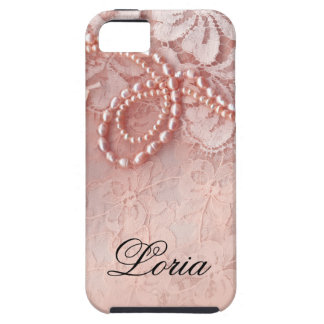 Pearls and Lace Signature | peony pink iPhone 5 Cover
