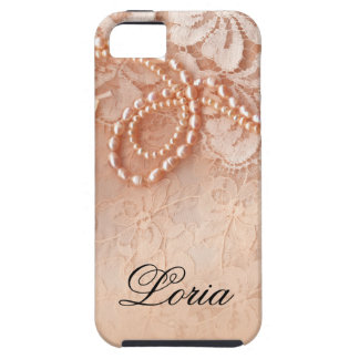 Pearls and Lace Signature | perfect peach iPhone 5 Cases