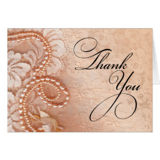 Pearls and Lace Thank You | perfect peach Card