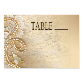 Pearls and Lace Wedding | eggshell place card Business Card