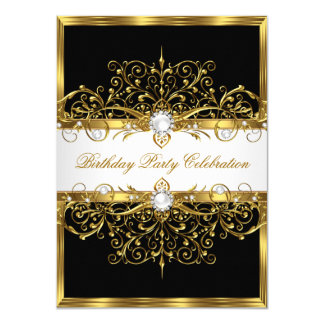 Pearls Black White Gold Elegant Birthday Party Card