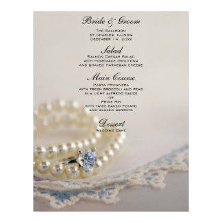 Pearls, Diamond Ring and Blue Lace Wedding Menu 21.5 Cm X 28 Cm Flyer