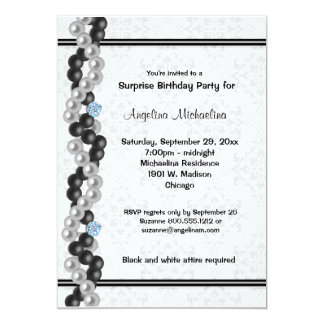 Pearls, Diamonds And Damask Surprise Party Inivte 13 Cm X 18 Cm Invitation Card