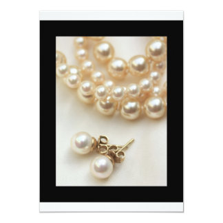 "pearls earrings in black 5"" x 7"" invitation card"