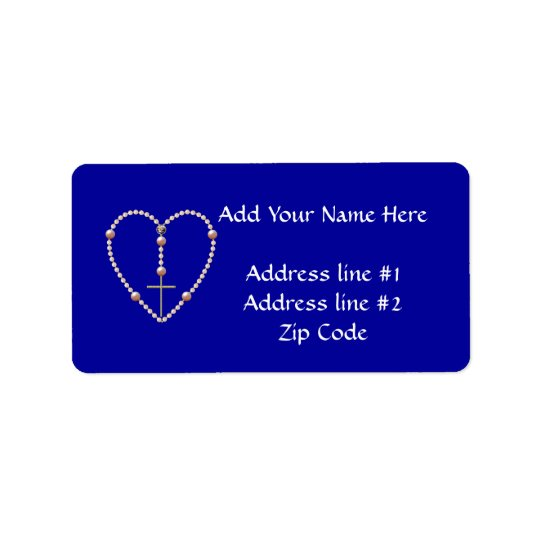 """""""Pearls"""" heart shaped Rosary Address Label"""