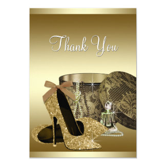 Pearls High Heel Shoes Black Gold Thank You Card 13 Cm X 18 Cm Invitation Card