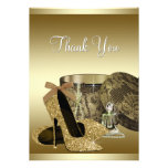 Pearls High Heel Shoes Black Gold Thank You Card Custom Invite