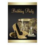 Pearls High Heel Shoes Black Gold Womans Birthday 13 Cm X 18 Cm Invitation Card