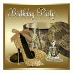 Pearls High Heel Shoes Black Gold Womans Birthday Invitation