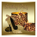 Pearls High Heel Shoes Black Gold Womans Birthday Personalized Invites