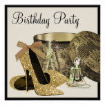 Pearls High Heel Shoes Black Gold Womans Birthday Custom Invites