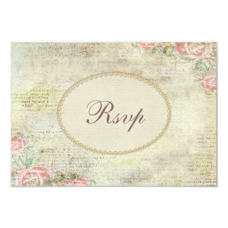 Pearls & Lace Shabby Chic Roses RSVP 9 Cm X 13 Cm Invitation Card