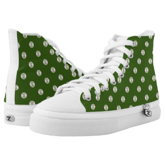 Pearls on forest green printed shoes