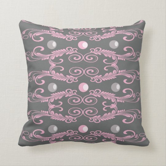 Pearls-pink and grey cushion