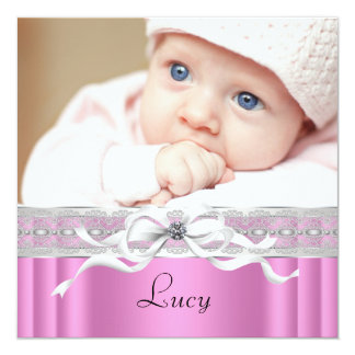 Pearls Pink Black Baby Girl Photo Birth 13 Cm X 13 Cm Square Invitation Card