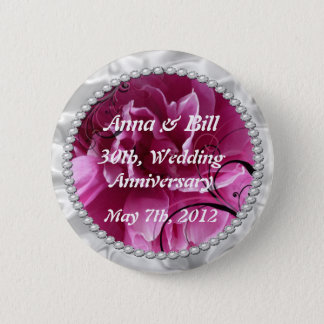 Pearls & Pink Floral Swirls save the date button