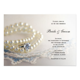 Pearls Ring and Blue Lace Wedding Invitation