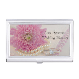 Pearls Ring Pink Lace Wedding Business Card Holder