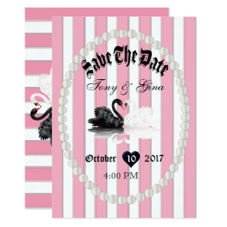 Pearls & Swans Save the Date Invitations