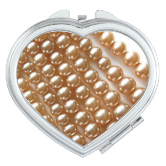 pearls - vintage jewelry travel mirror