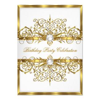 Pearls White Gold Elegant Birthday Party 2 11 Cm X 16 Cm Invitation Card