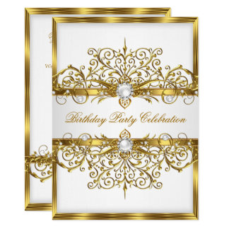 Pearls White Gold Elegant Birthday Party 2 Card