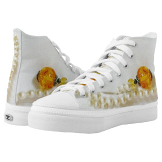 pearls with amber high tops