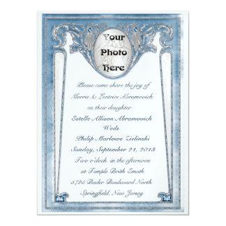 Pearly Blue - Photo (Wedding Invitation) Card