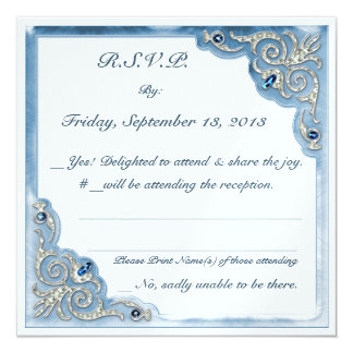 Pearly Blue (Wedding Reply Card) 13 Cm X 13 Cm Square Invitation Card