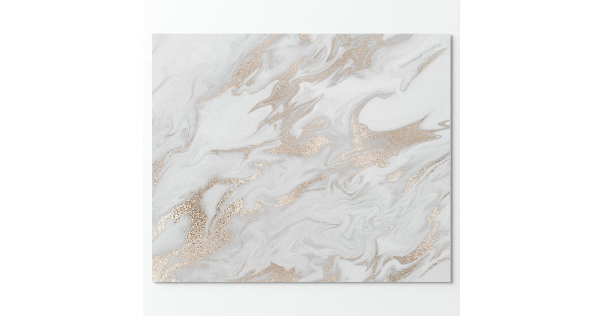 Pearly Ivory Gold Pastel White Gray Marble Glam Wrapping