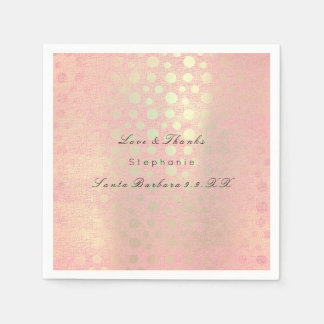 Pearly Rose Gold Blush Polka Dots Custom Name Disposable Serviettes