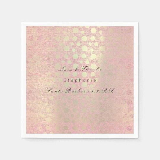 Pearly Rose Gold Blush Polka Dots Custom Name