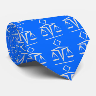 Pearly Scales of Justice on Brandeis Blue Tie