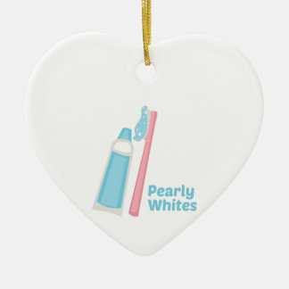 Pearly Whites Double-Sided Heart Ceramic Christmas Ornament